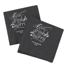 Eat, Drink, Be Merry - Napkins - Black