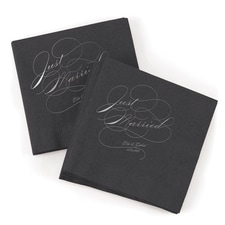 Just Married Napkin - Black