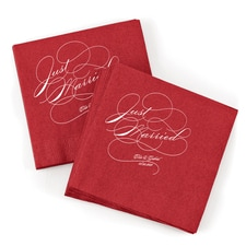 Just Married Napkin - Claret