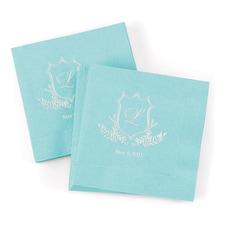 Crest Monogram Napkin - Aqua