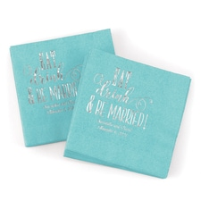 Eat, Drink, Be Married Napkin - Aqua