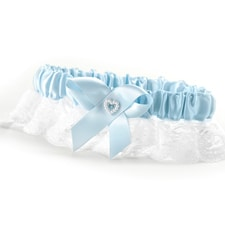 Heart and Rhinestone - Garter - Blue