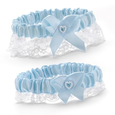 Heart and Rhinestone - Garter Set - Blue