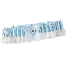 Heart and Rhinestone Garter Toss - Blue