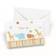 Jungle Animals - Baby Shower Thank You Card and Envelope