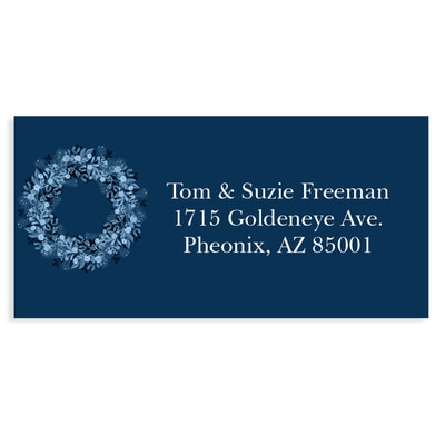 Joy Typography Blue Address Label