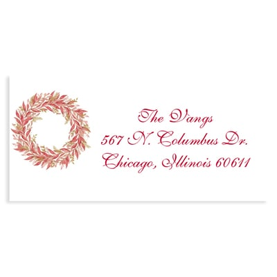 Touch of Greenery Red Address Label