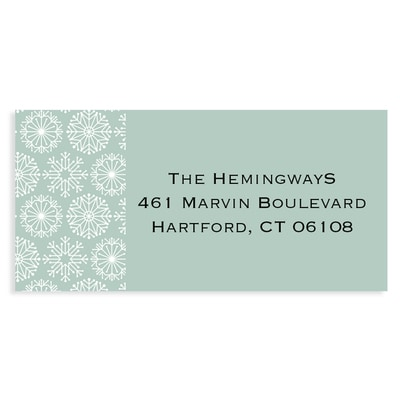 Icy Pastel Wishes Green Address Label