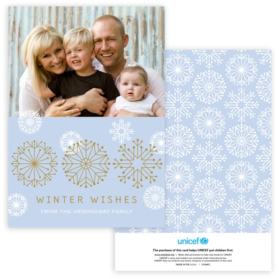 Icy Pastel Wishes Photo Card in Blue
