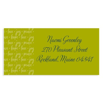 Joyous World Green Address Label
