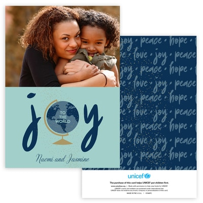 Joyous World Photo Card in Blue