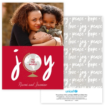 Joyous World Photo Card in Red