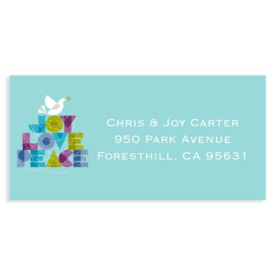 Dove of Joy, Love and Peace Aqua Address Label