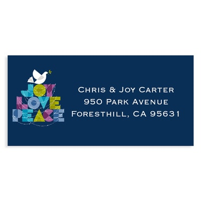 Dove of Joy, Love and Peace Navy Address Label