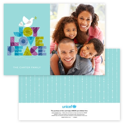 Dove of Joy, Love and Peace Photo Card in Aqua