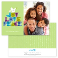 Dove of Joy, Love and Peace Photo Card in Green