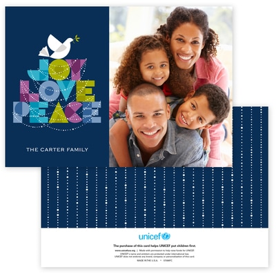 Dove of Joy, Love and Peace Photo Card in Navy