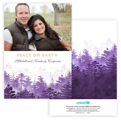 Winter Forest Photo Card in Purple