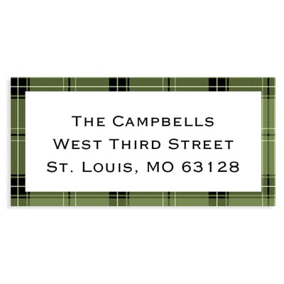 Rustic Christmas Wreath Green Address Label