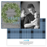 Rustic Christmas Wreath Photo Card in Blue