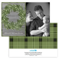 Rustic Christmas Wreath Photo Card in Green