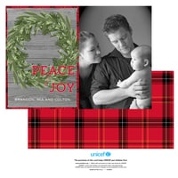 Rustic Christmas Wreath Photo Card in Red
