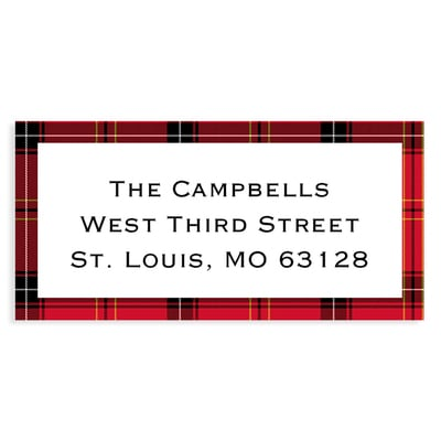 Rustic Christmas Wreath Red Address Label