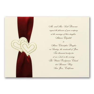 Golden Hearts on Cream - Invitation