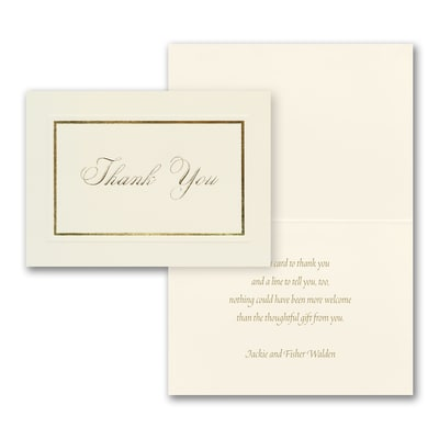 Golden Thank You - Thank You Note - Printed