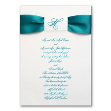 Satin Initial - ribbon invitation