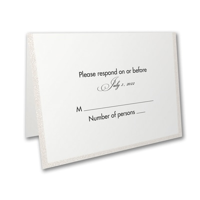 Glittering Border - Response Card and Envelope - Pearl