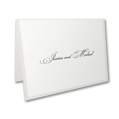 Glittering Border - Thank You Note - Pearl