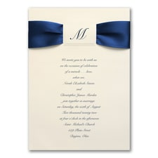 Satin Initial on Cream - ribbon invitation