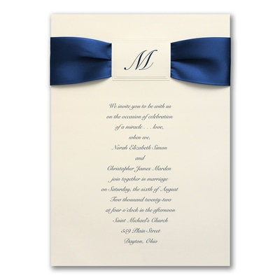 Satin Initial on Cream - Invitation