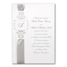 Ribbons & Vines on White - Invitation