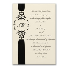 Ribbon & Vines - Monogram Invitation