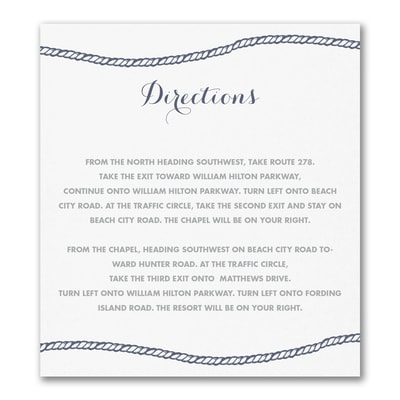 Anchors Aweigh - Direction/Map Card