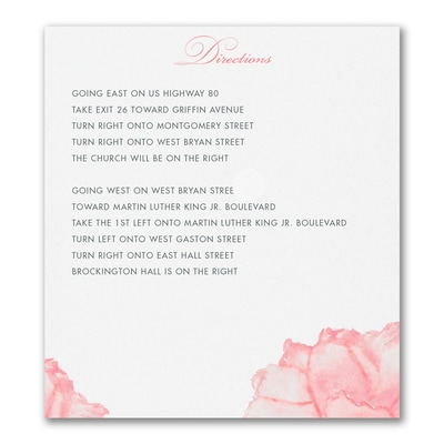 Peony Perfection - Direction/Map Card