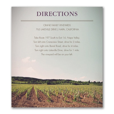 Wine Country - Direction/Map Card