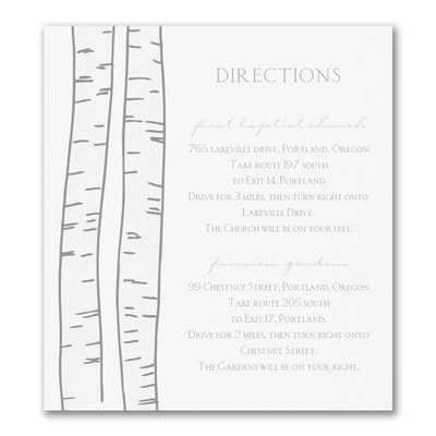 Birch Trees - Direction/Map Card