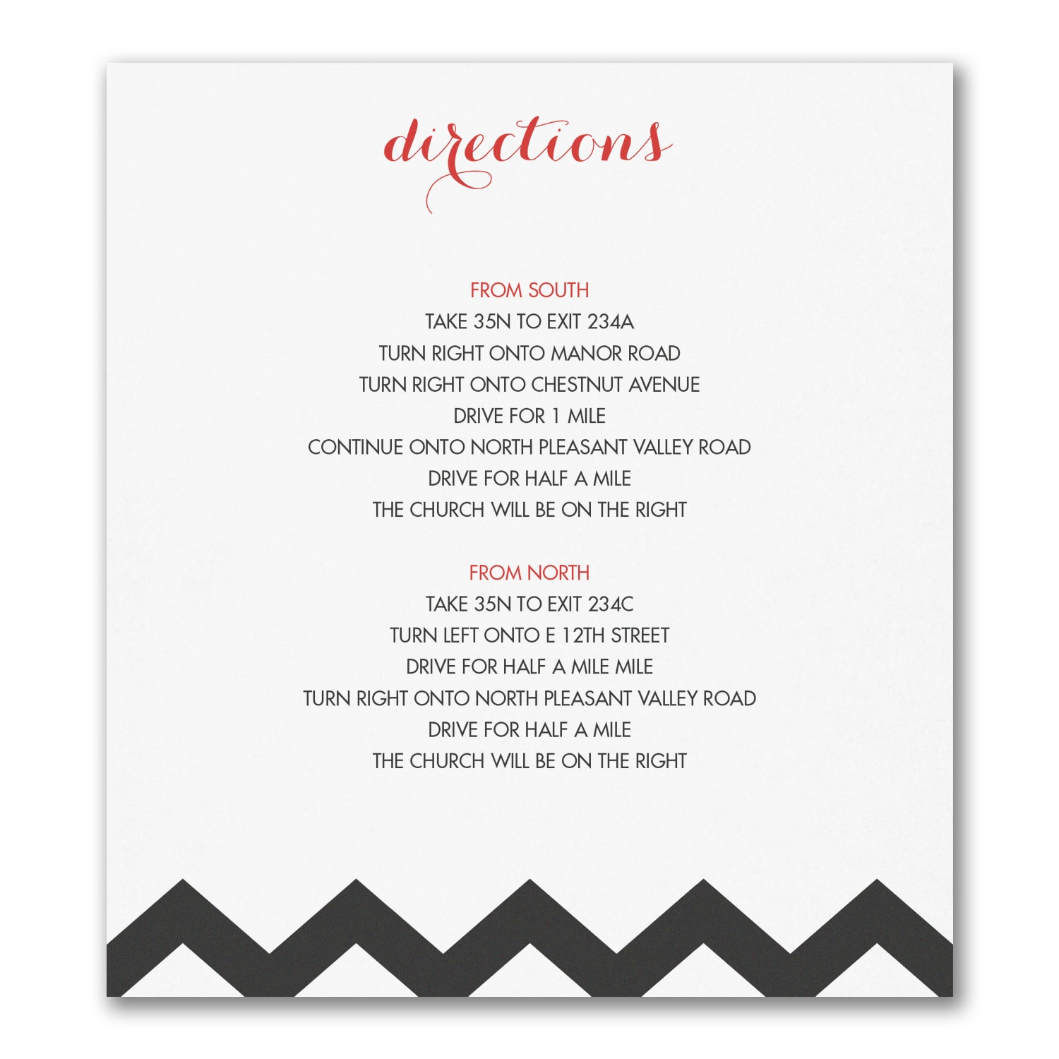 Chevron Stripe Direction Map Card Accommodation