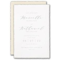 embossed invitation: Pearl Feather Deckle Invitation