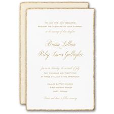 Vintage wedding invitation: Gold Feather Deckle Invitation
