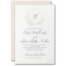 Elegant Wedding Invitations: Framed Monogram Invitation
