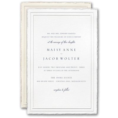 Stylish Feather Deckle Invitation