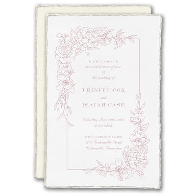 Floral Pearl Feather Deckle Invitation