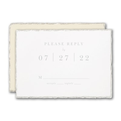 Pearl Feather Deckle Response Card and Envelope