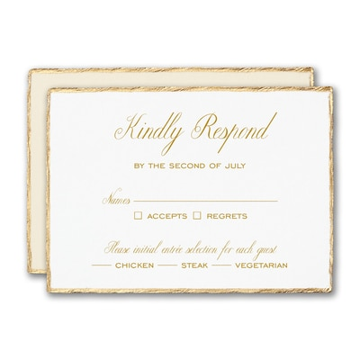 Gold Feather Deckle Response Card and Envelope