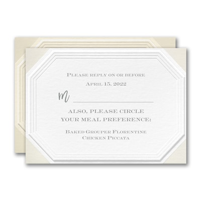 Emerald Embossed Response Card and Envelope