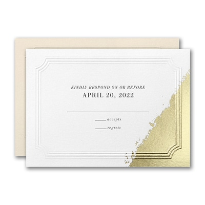 Golden Elegance Response Card and Envelope